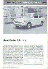 Bond Equipe GT Period Road Test Reprinted from The Autocar 1964