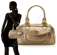 $550 JUST CAVALLI SHOULDER BAG GOLD CRACKLED LEATHER LOGO DETAIL SATCHEL
