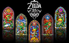 """the legend of zelda 25th anniversary Game Fabric poster 40"""" x 24"""" Decor 57"""