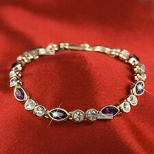 18k rose gold gp SWAROVSKI crystal wedding bride womens purple chain bracelet