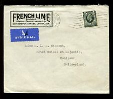 MARITIME 1937 FRENCH LINE ADVERT ENV GB 4d PERFIN CGT to SWITZERLAND AIRMAIL