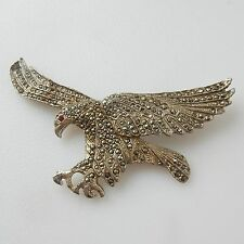 Early Silver & Marcasite Flying Eagle Bird Brooch