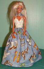 Shoes on Blue Gown with Cream Bodice for Barbie & Teen Skipper Dolls MS109