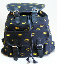 DC COMICS BATMAN BAT MAN DARK KNIGHT LOGO Slouch Buckle Book Bag Backpack NEW