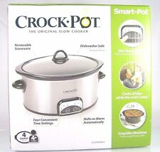 CROCK-POT SMART-POT~PROGRAMMABLE SLOW COOKER~4 qt. OVAL~BRUSHED STAINLESS STEEL