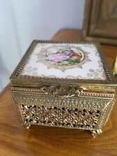 Antique brass gold porcelain jewelry vanity hand painted box beveled mirror