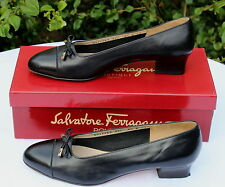 SALVATORE FERRAGAMO Black Leather Signature Pumps Shoes - UK 6B EU 39