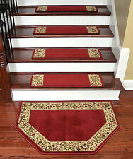 "Dean Tape Free Pet Friendly Carpet Stair Treads Talas Floral Red 31""x9"" w/Mat"