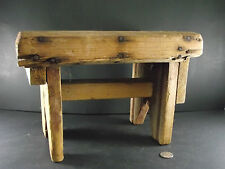 ANTIQUE SMALL MILK HOUSE OR BED STOOL w PAINT
