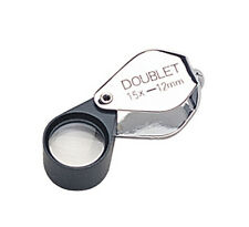 12 MM 15X Chrome/Black Double Eye Loupe Jewelry Diamond Inspection Magnifier