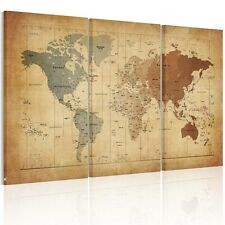 Vintage Framed World Map Canvas Prints Wall Art Paintings Ready To Hang