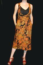 M~L Gold Brown Floral Rayon Vtg 80s Suspender High Waist Belt Jumper Skirt Dress
