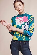 NWT SZ XS ANTHROPOLOGIE LAINE FLORAL PULLOVER BY MONOGRAM SWEATER 0 2 X - SMALL