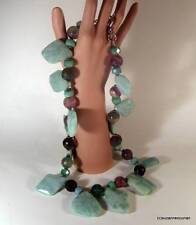 Massive!! Vintage 1980's Faceted Amazonite & Fluorite Stone Statement Necklace