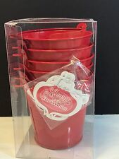 Celebrate It 6 Piece Christmas Noel Red Tin Pails New Party Supplies