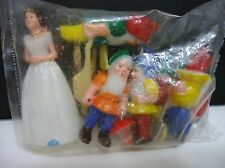 Vintage 1984 Snow White and the Seven Dwarfs Birthday Cake Toppers Figure Sealed