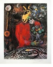 VIVACIOUS MARC CHAGALL HAND SIGNED SIGNATURE * THE RED SKIRT *  LITHOGRAPH W/COA