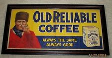 VINTAGE OLD RELIABLE COFFEE STORE DISPLAY SIGN-FRAMED-37""