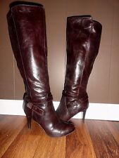 Womens Nine West Maravillao Dark Brown Leather Knee High Heel Boots Size 6.5