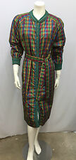 VINTAGE MISSONI 100% SILK COAT DRESS WITH BELT MULTI COLOR TARTAN PLAID & KNIT M