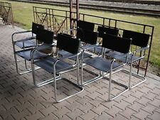 S34 Leather Tubular Steel chrome Chair by Mart Stam Cantilever Armchairs