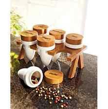 """Gewürzdosen """"Style"""", 6er-Set weißem Porzellan  Bambusdeckel  6 Gewürzdosen"""