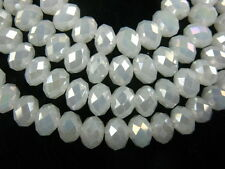 Bulk 200Ps Jade White AB Crystal Glass Faceted Rondelle Bead 3mm Spacer Findings