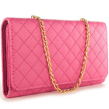 For LG G4c/G4 Mini/Magna Wallet Case - Hot Pink Purse Quilted Bag Mirror Pouch