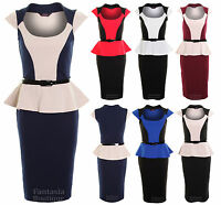 Ladies Belted Peplum Knee Length Contrast Pencil Skirt Bodycon Women's Dress