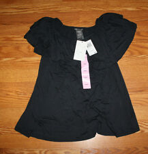 NWT Womens Chelsea & Theodore Black Ruffled Tier Top 4-Way Blouse Shirt Sz L