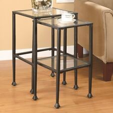 Coaster 901073 - Nesting Tables 2 Piece Glass and Metal Nesting Tables