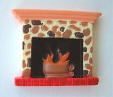 Funky Holiday FIREPLACE PIN BROOCH Winter Fire Ski Lodge Christmas Charm Jewelry
