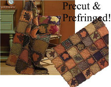 AUTUMN  LEAVES Precut PRE-FRINGED  RAG QUILT KIT / Prairie
