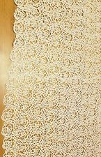HIGH QUALITY WHITE GUIPURE EMBROIDERED FLORAL CORD LACE FABRIC sold by yard