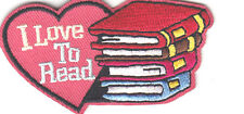 """""""I LOVE TO READ"""" PATCH/Iron On Embroidered Patch/Reading, Book,School,Words"""