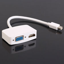 For MacBook Pro 2 in 1 Mini Display Port DP Thunderbolt to VGA + HDMI Adapter
