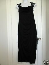 Womens Plus Size Dress Gown Prom Dress Black Chiffon Queen Ann Neckline 22W