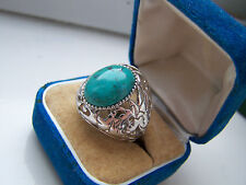FABULOUS BIG LARGE OVERSIZED OPENWORK STERLING SILVER TURQUOISE RING SIZE O RARE