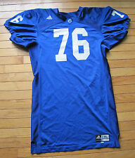 Colby College White Mules Game Worn Blue Away Football Uniform #76 Adidas XL