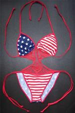 Sexy USA American Flag CROCHET SWIMMING COSTUME Ladies Swimsuit Womens Swimwear