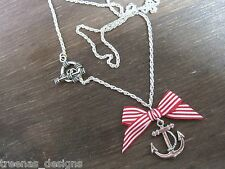 *ANCHOR BOW* Red Stripe Silver Necklace ROCKABILLY SAILOR JERRY NAUTICAL Gift