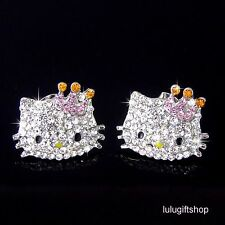 18K WHITE GOLD PLATED HelloKitty CAT CROWN STUD EARRINGS USE SWAROVSKI CRYSTALS