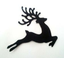 12 x CHRISTMAS REINDEER SILHOUETTE Die Cuts Quality Black Card