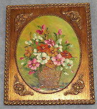 Vintage Floral on Board Oil Painting with Copper Frame Ornaments signed G. G.