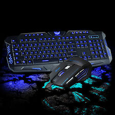 M200 3 Colors Backlit USB Wired Gaming Keyboard ARES 3200DPI Mouse Mice Combo