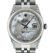 MENS ROLEX DATEJUST S/STEEL AND WHITE GOLD MOTHER OF PEARL DIAMOND 36MM WATCH