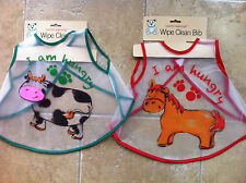 2 Pack Wipe Clean Bibs 2 Designs Horse & Cow Suits Birth & Up