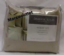 CHARTER CLUB 500 Thread Count Damask Solid QUEEN Fitted Sheet & Cases Taupe