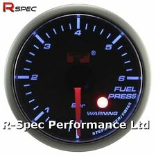 52mm Blue Stepper Motor Warning Fuel Pressure Press Gauge Bar - With Warning