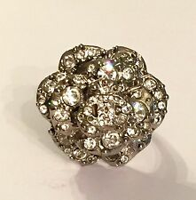 CHANEL Camellia Crystal Ring (size 52)